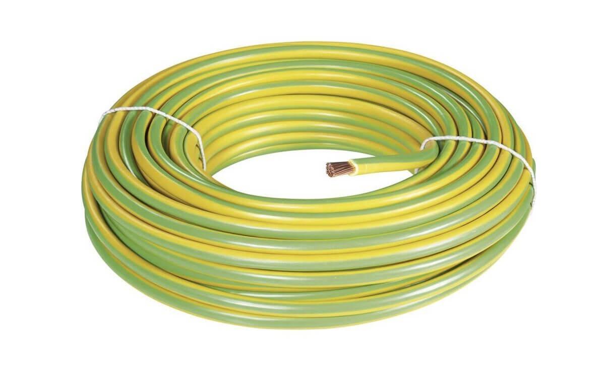 100 mètres de câble de terre rigide vert/jaune 16mm²