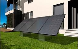 Fixation au sol du kit solaire 2 panneaux